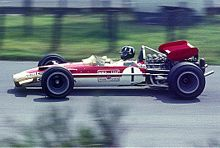 Photo de Graham Hill pilotant au Grand Prix d'Allemagne 1969.