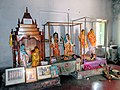 Hindu idols of Gods and Goddesses inside the Sripat of Sri Srimad Raghunath Das Goswami at Saptagram in West Bengal.jpg