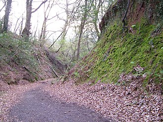 Haldon Hills - Holloway Lane was cut deeply into the hillside as it climbed Haldon
