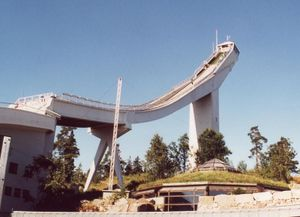 Holmenkollen - The Holmenkollen ski jump is a landmark in Oslo. This is the hill that was demolished in 2008 to make way for a new one in 2010.