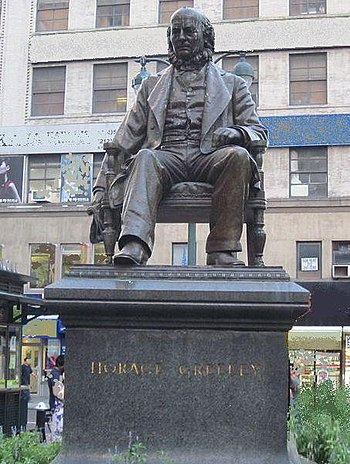 English: Horace Greeley statue in New York City