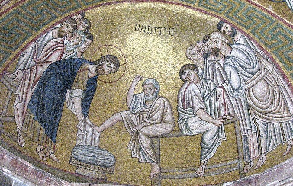 Hosios Loukas (narthex) - North wall (Washing the feet) 02
