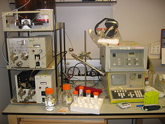 High-performance liquid chromatography - An HPLC. From left to right: A pumping device generating a gradient of two different solvents- a steel-enforced column and a detector for measuring the absorbance.