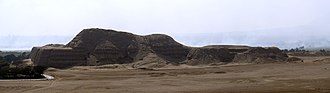 Moche Route -  Panoramic view of the Archaeological site of Huaca del Sol (Temple of the sun, Mochica political capital, south of Trujillo city