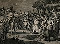 Hudibras confronts with a pistol a club-wielding crowd, incl Wellcome V0049152.jpg