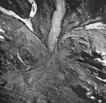 Hugh Miller Glacier, valley glacier terminus with outwash and glacial remnents, August 24, 1963 (GLACIERS 5477).jpg