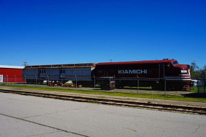 St. Louis–San Francisco Railway - Preserved Railway Express Agency car, along with Kiamichi EMD F7 slug No. SL1, at the Frisco Depot Museum in Hugo, Oklahoma