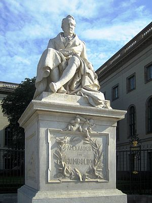 Monument of Alexander von Humboldt in front of the Humboldt-University, Berlin, Germany.
