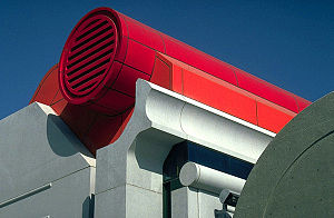 Hyperion sewage treatment plant - Detail of one of the plant buildings designed by Anthony J Lumsden, FAIA.
