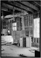 INTERIOR VIEW, SHOWING INTERIOR STRUCTURE, AND STORAGE BINS - Mingus Flour Mill, Gatlinburg, Sevier County, TN HAER TENN,78-GAT,2-10.tif