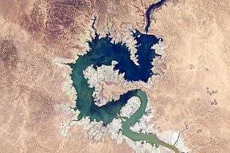 Haditha Dam - Lake Qadisiyah, as seen from the International Space Station