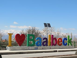 "Baalbek - An installation displaying ""I ♥ Baalbeck"""