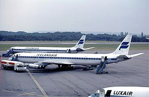 Icelandair - A pair of Icelandair Douglas DC-8s at Luxembourg-Findel Airport (1983)