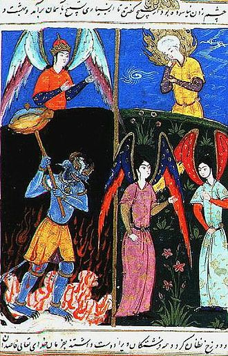 Afterlife - The Islamic prophet Idris is shown the afterlife places by an angel. In hell, the inmates are tormented by a demon.