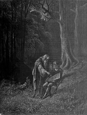 Wise old man - Merlin instructing a young knight, from The Idylls of the King
