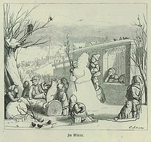 Illustration of children surrounding a snowman in an outdoor winter scene
