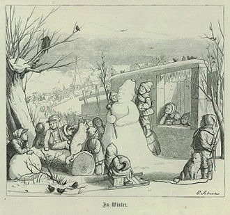 Snowman - In this illustration from 1867, a snowman is surrounded by children