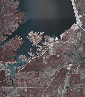 Texas Recreational Road 255 - An aerial view of South Toledo Bend; RE 255 travels through the community