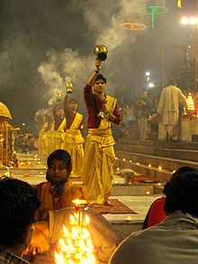 Incense aarti at Dashaswamedh ghat, Varanasi.jpg