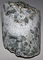 Inch-scale layered anorthosite-norite (Stillwater Complex, Neoarchean, 2.71 Ga; mine core dump, Stillwater Mine, Beartooth Mountains, Montana, USA) (31406477845).jpg
