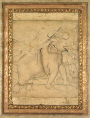 Portrait of Emperor Jahangir Riding an Elephant