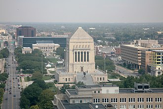 Indiana World War Memorial Plaza - Indiana World War Memorial Plaza, as seen from the Soldiers' and Sailors' Monument. Meridian Street is at left.