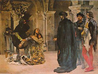 Inês de Castro - Murder of Inês de Castro. Painting by Columbano Bordalo Pinheiro, ca. 1901/04.
