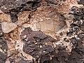 Intergranular calcite in autobrecciated amygdaloidal tholeiite basalt aa lava flow top (flow B, Two Harbors Basalts, North Shore Volcanic Series, Mesoproterozoic, 1097-1098 Ma; Burlington Bay, Two Harbors, Minnesota, USA) 2.jpg