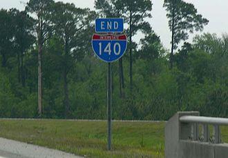 Interstate 140 (North Carolina) - End I-140 shield at I-40