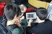 Iolanda and Wikimania Esino Lario team preparing a presentation.JPG