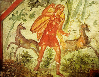 Diana (mythology) - A Roman fresco depicting Diana hunting, 4th century AD, from the Via Livenza hypogeum in Rome.