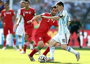 Ehsan Hajsafi - Haji Safi playing for Iran against Argentinian star Lionel Messi, 2014 FIFA World Cup