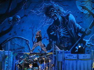 """Eddie the Head - """"The Reincarnation of Benjamin Breeg"""" backdrop, featuring Eddie, during The Final Frontier World Tour"""