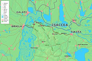 Isaccea - Map showing the nearby localities and roads