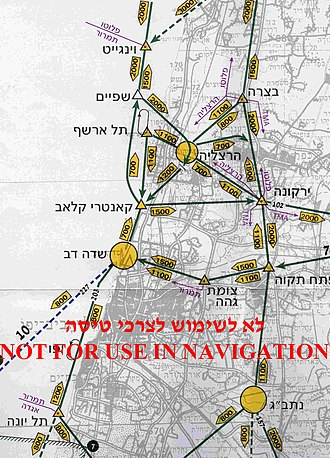 Visual flight rules -  Section of CVFR flight routes map of Tel Aviv (Israel) area. Flight altitude in each direction is notated in yellow arrow-box. Compulsory reporting points are marked with triangles and airports are marked by yellow circles.