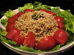 English: Israel couscous also known as ptitim ...