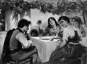 In a Roman Osteria - Elisabeth Jerichau-Baumann's version of the Italian Osteria scene; date unknown
