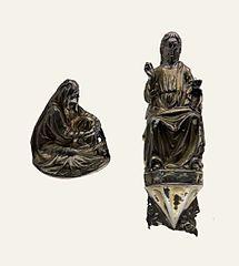 Chrystus błogosławiący i Matka Boska Bolesna - reliefy z krzyża procesyjnego