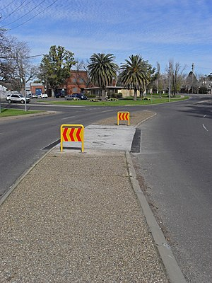 Traffic island - A traffic island in Wagga Wagga, New South Wales, Australia