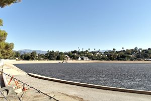 Silver Lake Reservoir - Ivanhoe Reservoir after addition of shade balls