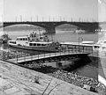 Jászai Mari téri hajóállomás, háttérben a Margit híd, Budapest - Fortepan 104486.jpg