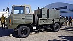 JGSDF Type 73 chugata truck(81-0132) with Type 94 Decontamination equipment left front view at JASDF Komaki Air Base February 23, 2014 02.jpg