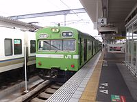 JNR 103 uguisu Nara Line at Nara Station 20110409 (8406747475).jpg