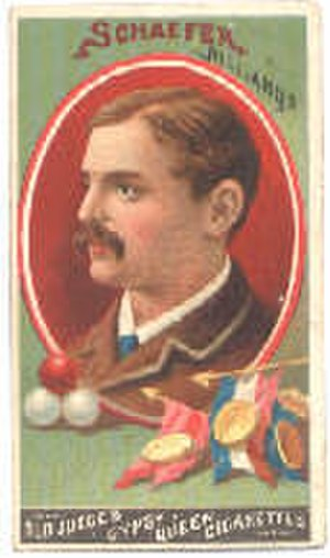 Balkline and straight rail - Jacob Schaefer Sr. tobacco card, circa 1880s