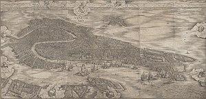 Jacopo de' Barbari - Photo of Jacopo de' Barbari's woodcut, the Map of Venice.