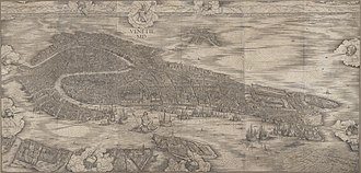Jacopo de' Barbari - His very large woodcut View of Venice, 1500. First state at the Minneapolis Institute of Art