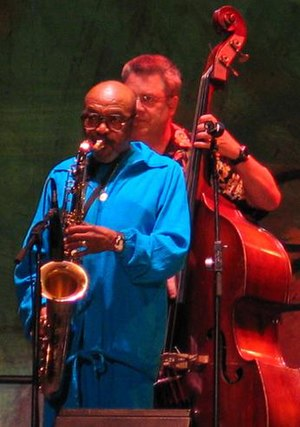 James Moody performing during a jazz festival.
