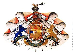 James Terry - The arms of Sir Rory O'Donnell, 1st Earl of Tyrconnell (1603), exemplified in a genealogy provided to Daniel O'Donnell by James Terry in 1709