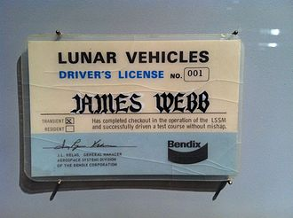 Driver's license - A drivers license for the moon presented to then NASA Administrator James E. Webb