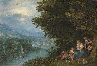 Flusslandschaft mit der Ruhe auf der Flucht und Hans Rottenhammer